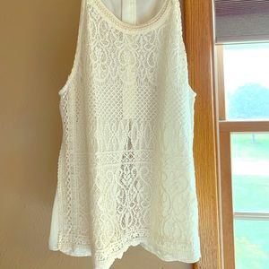 Lacey, off white, Miss Me, sleeveless blouse.